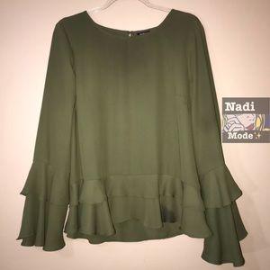 a.n.a. Green Ruffle Top/Blouse